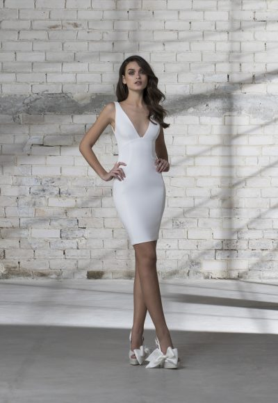 Sleeveless V-neck Short Wedding Dress by Love by Pnina Tornai