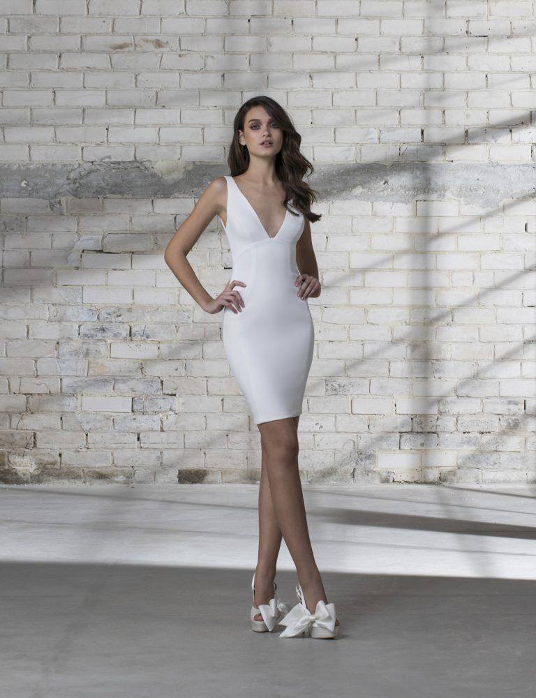 Sleeveless V-neck Short Wedding Dress by Love by Pnina Tornai - Image 1