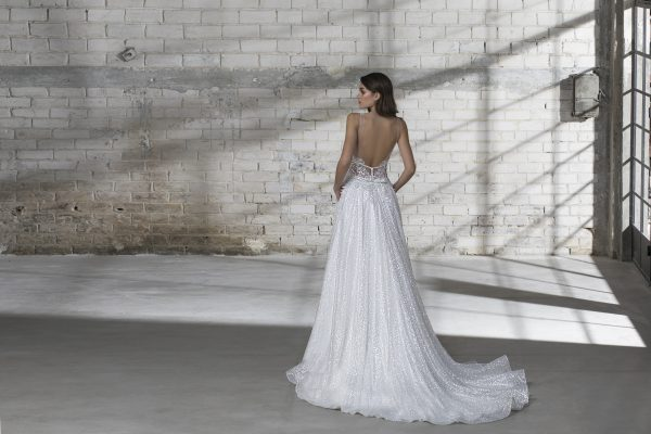 Sleeveless Glitter A-line V-neck Wedding Dress by Love by Pnina Tornai - Image 2