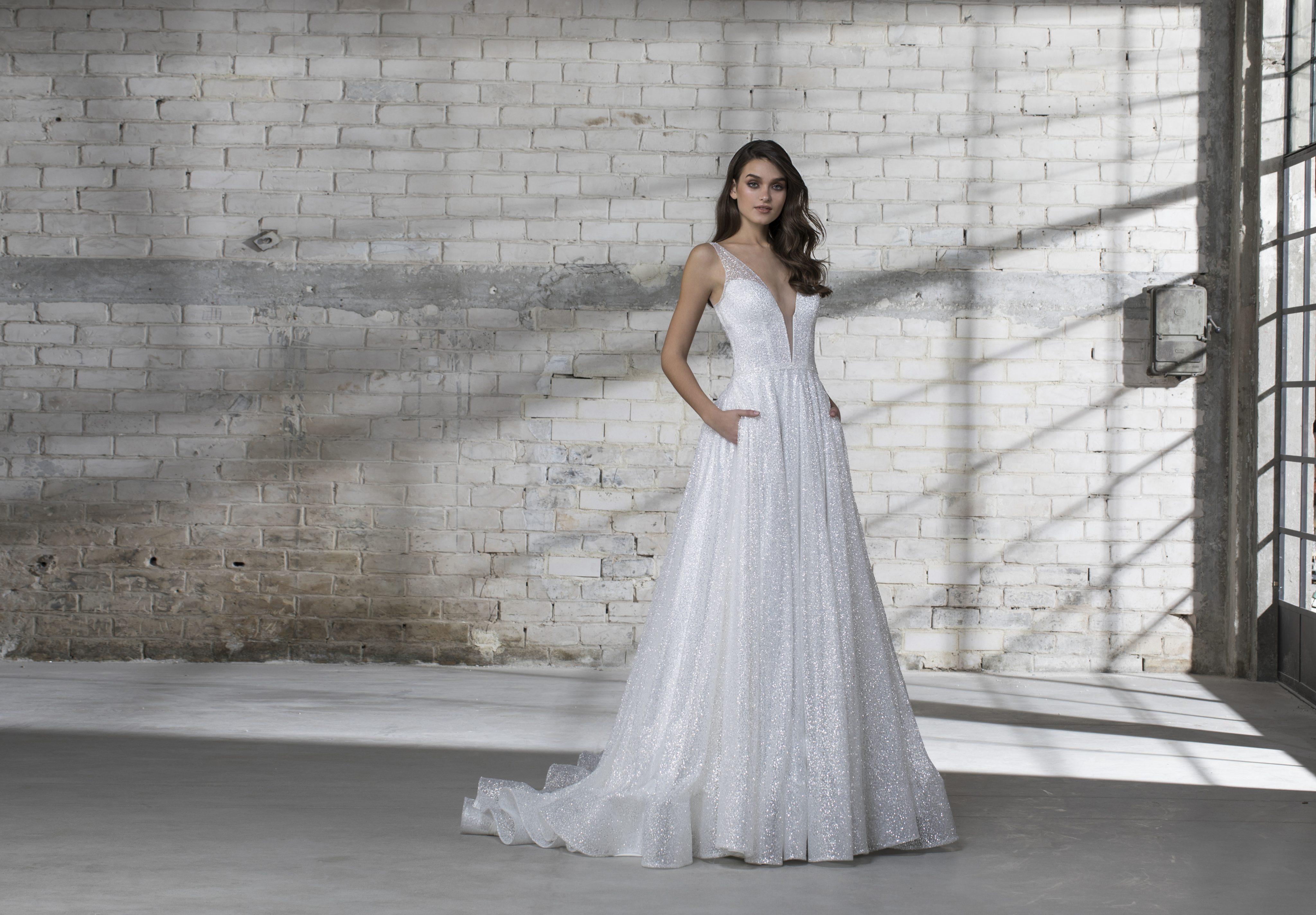 A Line Wedding Dress: Sleeveless Glitter A-line V-neck Wedding Dress