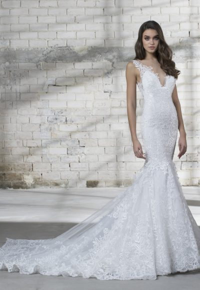 Sleeveless V-neck Lace Mermaid Wedding Dress by Love by Pnina Tornai