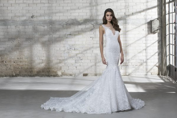 Sleeveless V-neck Lace Mermaid Wedding Dress by Love by Pnina Tornai - Image 1