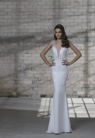Sleeveless V-neck Sheath With Detatachable Glitter Overskirt by Love by Pnina Tornai