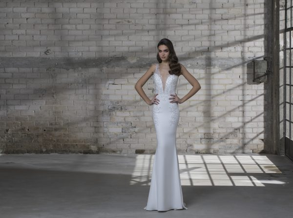 3d7be880126 Sleeveless V-neck Sheath With Detatachable Glitter Overskirt by Love by Pnina  Tornai - Image
