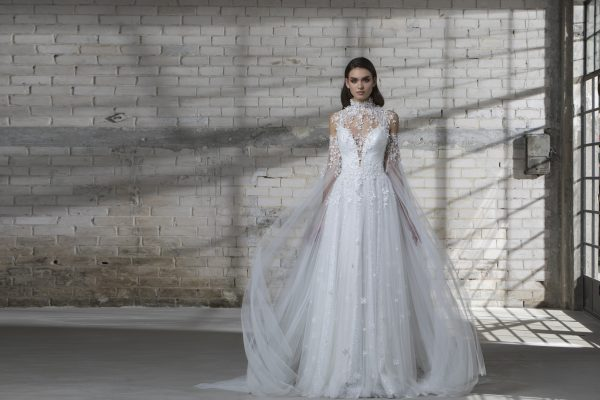 Spaghetti Strap A-line Wedding Dress With Tulle Skirt by Love by Pnina Tornai - Image 2