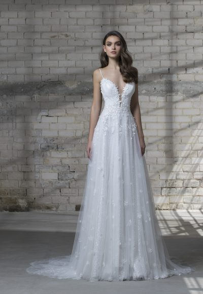 Spaghetti Strap A-line Wedding Dress With Tulle Skirt by Love by Pnina Tornai