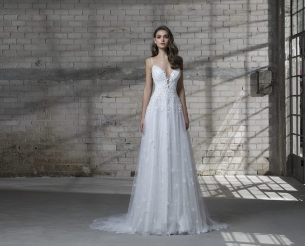 Spaghetti Strap A-line Wedding Dress With Tulle Skirt by Love by Pnina Tornai - Image 1