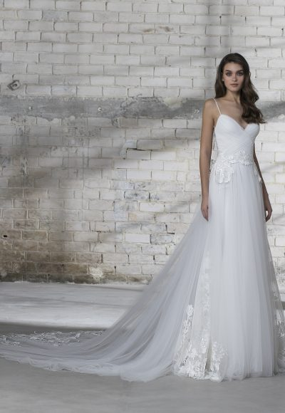 Spaghetti Strap Tulle Skirt A-line Wedding Dress by Love by Pnina Tornai