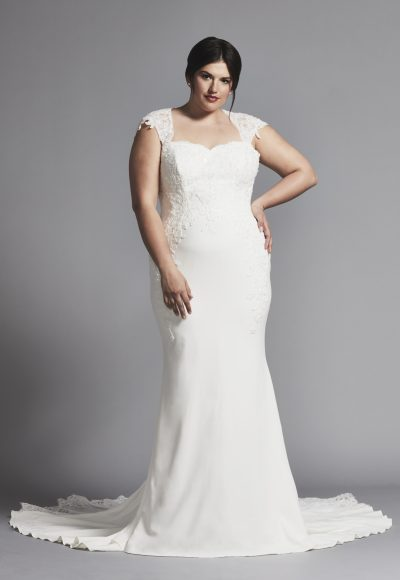 Cap Sleeve Crepe Sheath Wedding Dress by Maison Signore