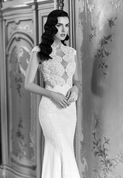 Lace Detailed Fitted Wedding Dress by Maison Signore