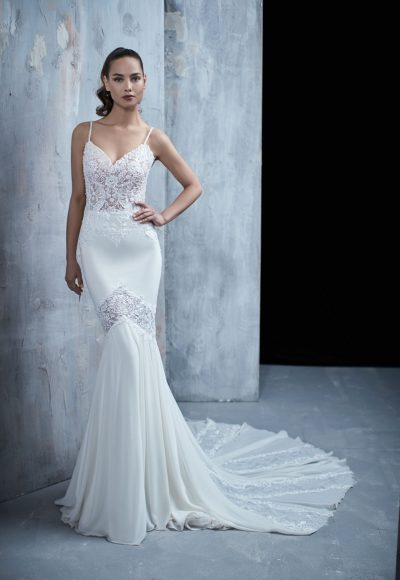 Spaghetti Strap Beaded Bodice Fit And Flare Wedding Dress by Maison Signore