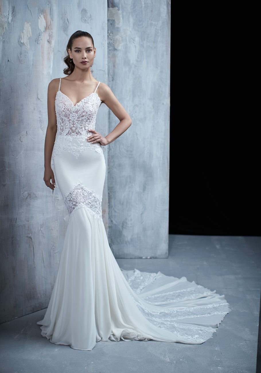 Spaghetti Strap Beaded Bodice Fit And Flare Wedding Dress ...