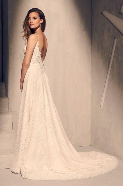 Spaghetti Strap Lace Bodice A-line Wedding Dress by Mikaella - Image 2