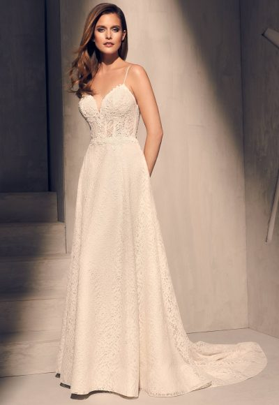 Spaghetti Strap Lace Bodice A-line Wedding Dress by Mikaella