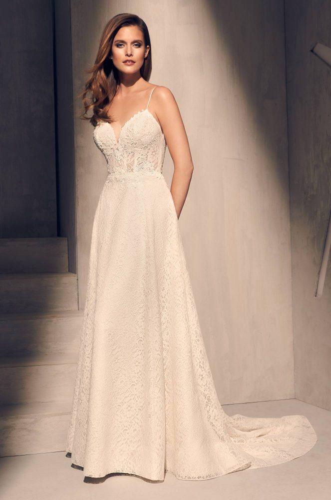Spaghetti Strap Lace Bodice A-line Wedding Dress by Mikaella - Image 1