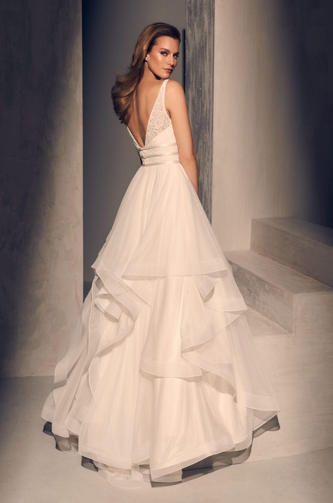 Textured V-neck Bodice Ruffle Skirt Ball Gown Wedding Dress by Mikaella - Image 2