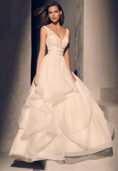 Textured V-neck Bodice Ruffle Skirt Ball Gown Wedding Dress by Mikaella