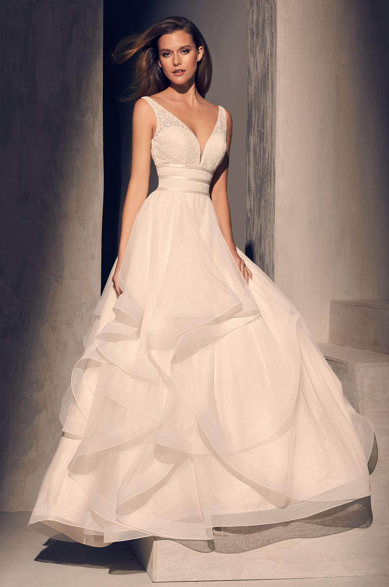 Textured V Neck Bodice Ruffle Skirt Ball Gown Wedding Dress Kleinfeld Bridal