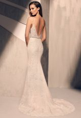 V-neck Lace Detailed Bodice Spaghetti Strap Fit And Flare Wedding Dress by Mikaella - Image 2