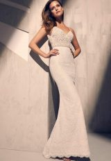 V-neck Lace Detailed Bodice Spaghetti Strap Fit And Flare Wedding Dress by Mikaella - Image 1
