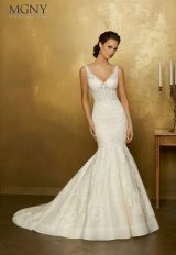 Lace Applique V-neck Tulle Mermaid Wedding Dress by Mori Lee - Image 2