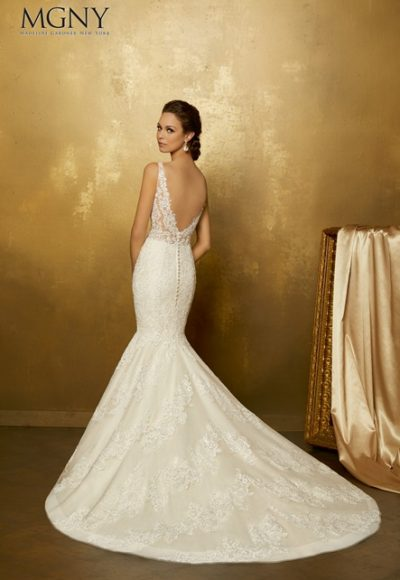 Lace Applique V-neck Tulle Mermaid Wedding Dress by Mori Lee