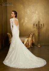 Long Sleeve Lace V-neck Fit And Flare Wedding Dress by Mori Lee - Image 2