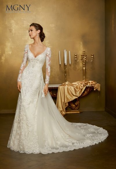 Long Sleeve Lace V-neck Fit And Flare Wedding Dress by Mori Lee