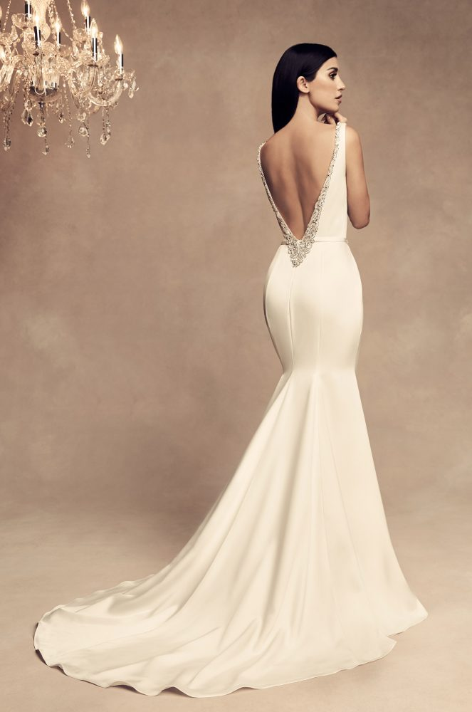 Sleeveless Satin Fit And Flare Wedding Dress by Paloma Blanca - Image 2