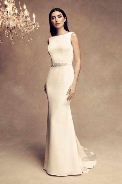 Sleeveless Satin Fit And Flare Wedding Dress by Paloma Blanca - Image 1