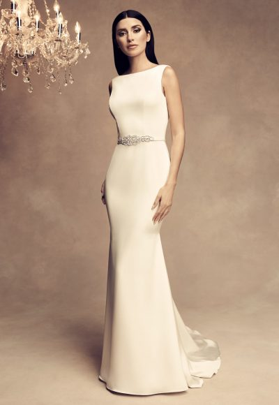 Sleeveless Satin Fit And Flare Wedding Dress by Paloma Blanca