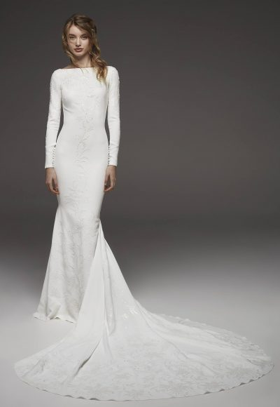 Bateau Neckline Long Sleeve Simply Elegant Wedding Dress by Pronovias
