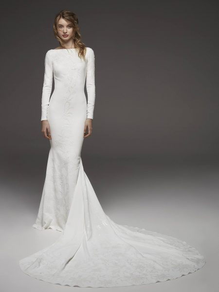 Bateau Neckline Long Sleeve Simply Elegant Wedding Dress by Pronovias - Image 1