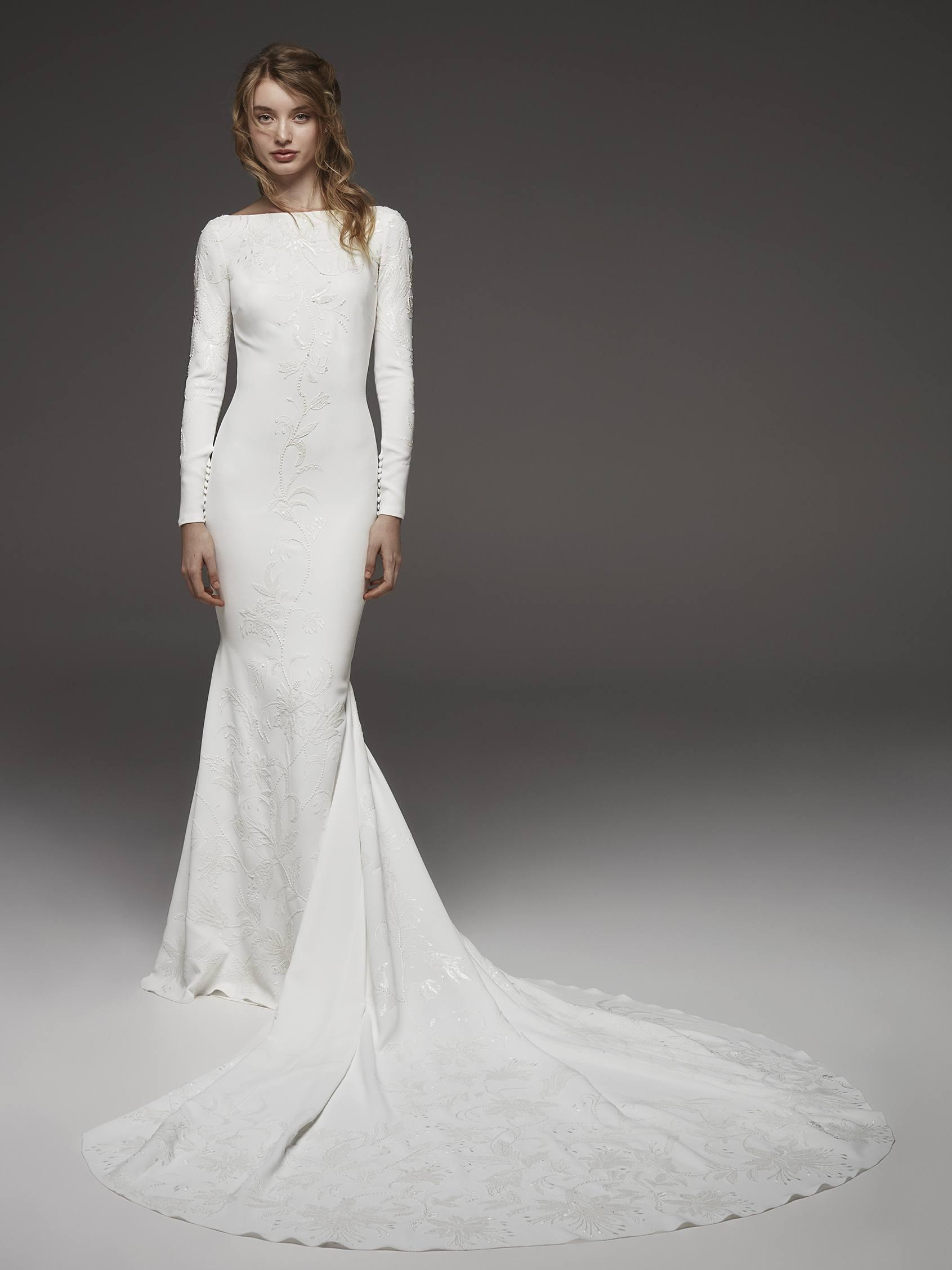 Bateau Neckline Long Sleeve Simply Elegant Wedding Dress Kleinfeld Bridal: Bateau Neckline Wedding Dresses At Websimilar.org