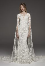 Couture 3/4 Sleeve Lace Detailed Sheath Wedding Dress by Pronovias - Image 1