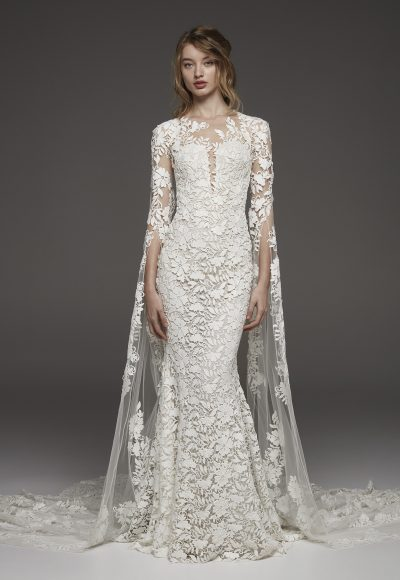Couture 3/4 Sleeve Lace Detailed Sheath Wedding Dress by Pronovias