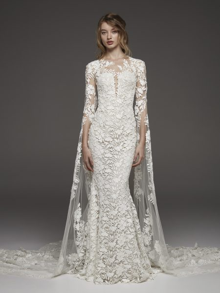 7b5b9947895 Couture 3 4 Sleeve Lace Detailed Sheath Wedding Dress by Pronovias - Image 1