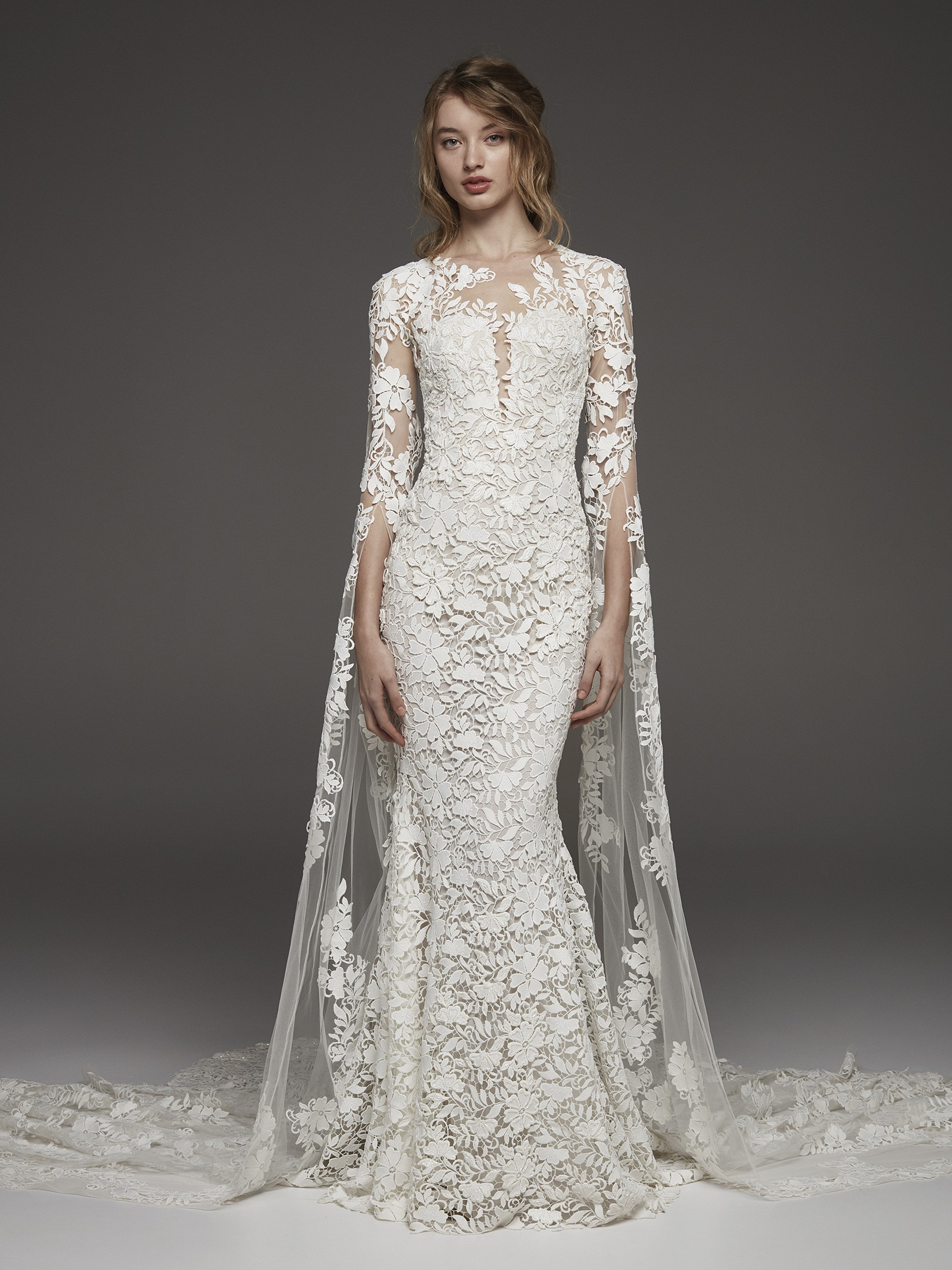 Couture 3/4 Sleeve Lace Detailed Sheath Wedding Dress | Kleinfeld Bridal