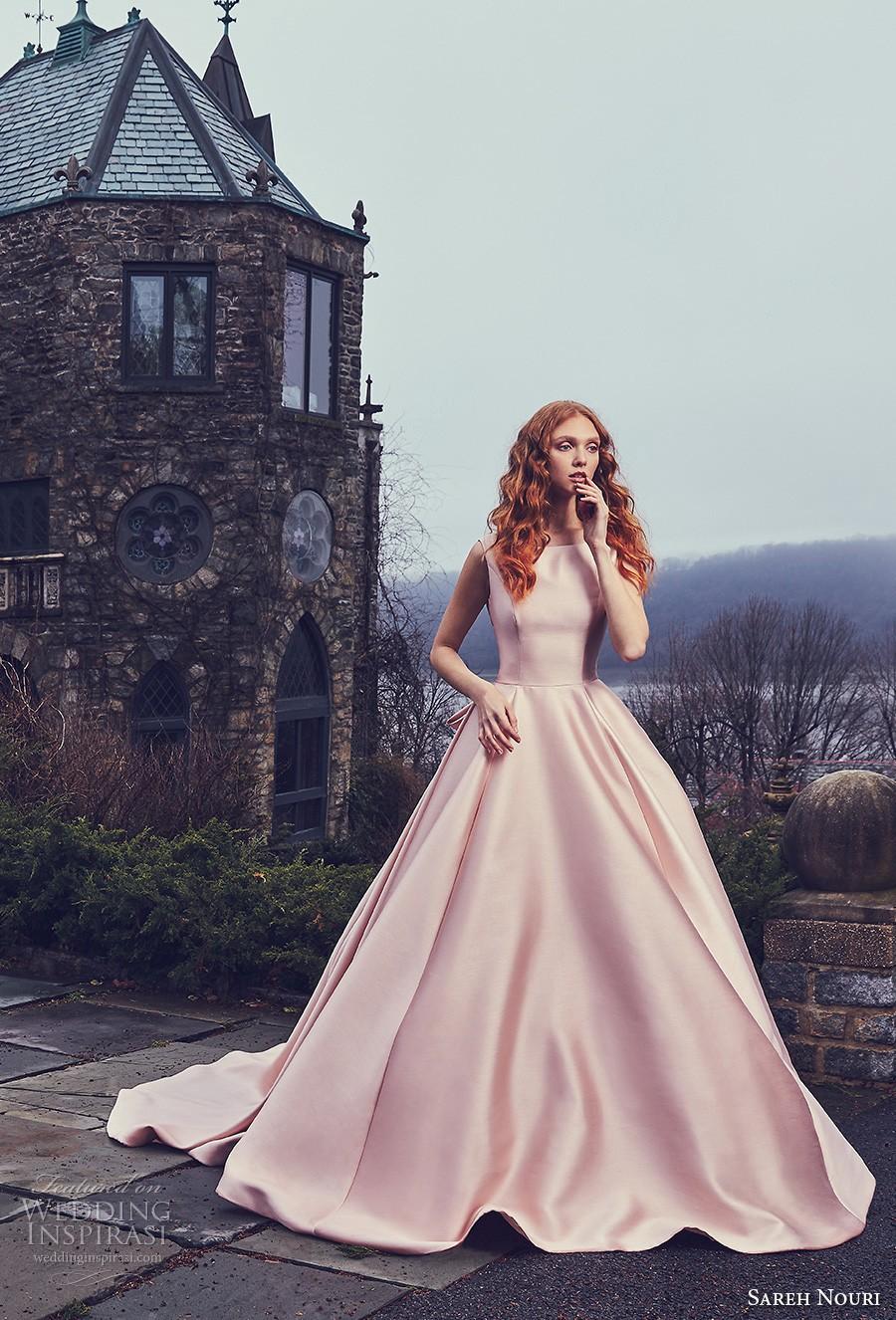 Bateau Neckline Full Ball Gown Low Back Wedding Dress