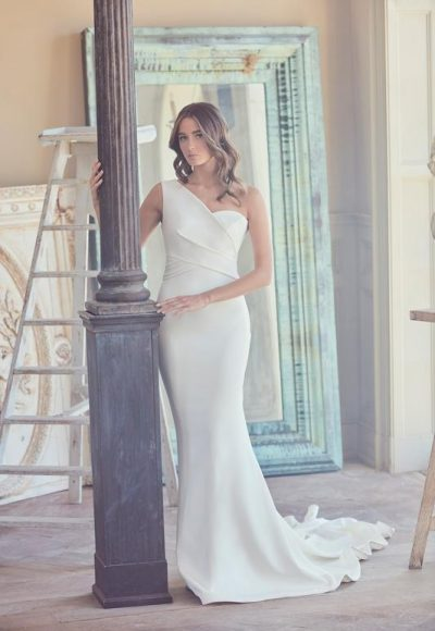 One Shoulder Fit And Flare Wedding Dress by Sareh Nouri