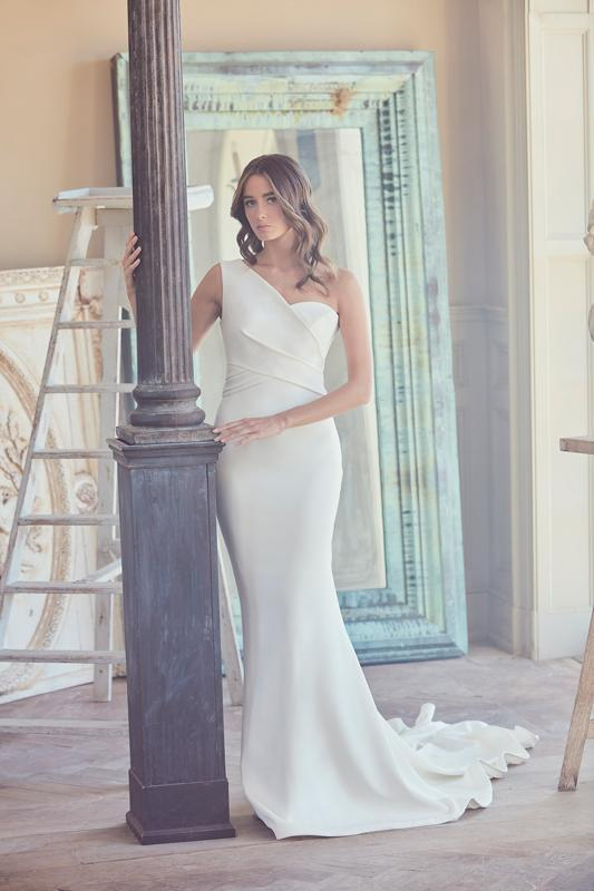 One Shoulder Fit And Flare Wedding Dress   Kleinfeld Bridal