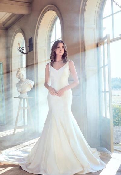 Simple Sleeveless V-neck Fit And Flare Wedding Dress by Sareh Nouri