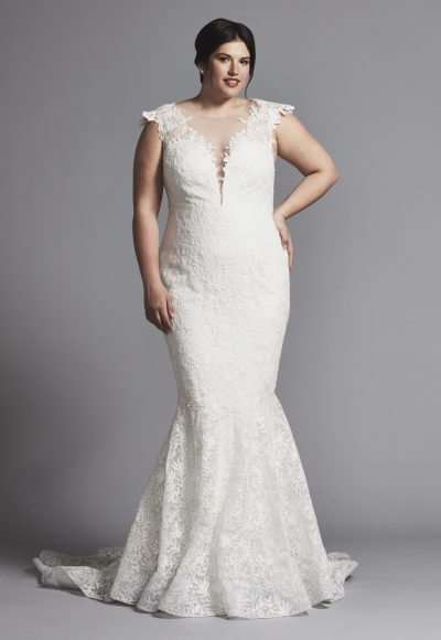 Cap Sleeve Lace Mermaid Wedding Dress by Tony Ward