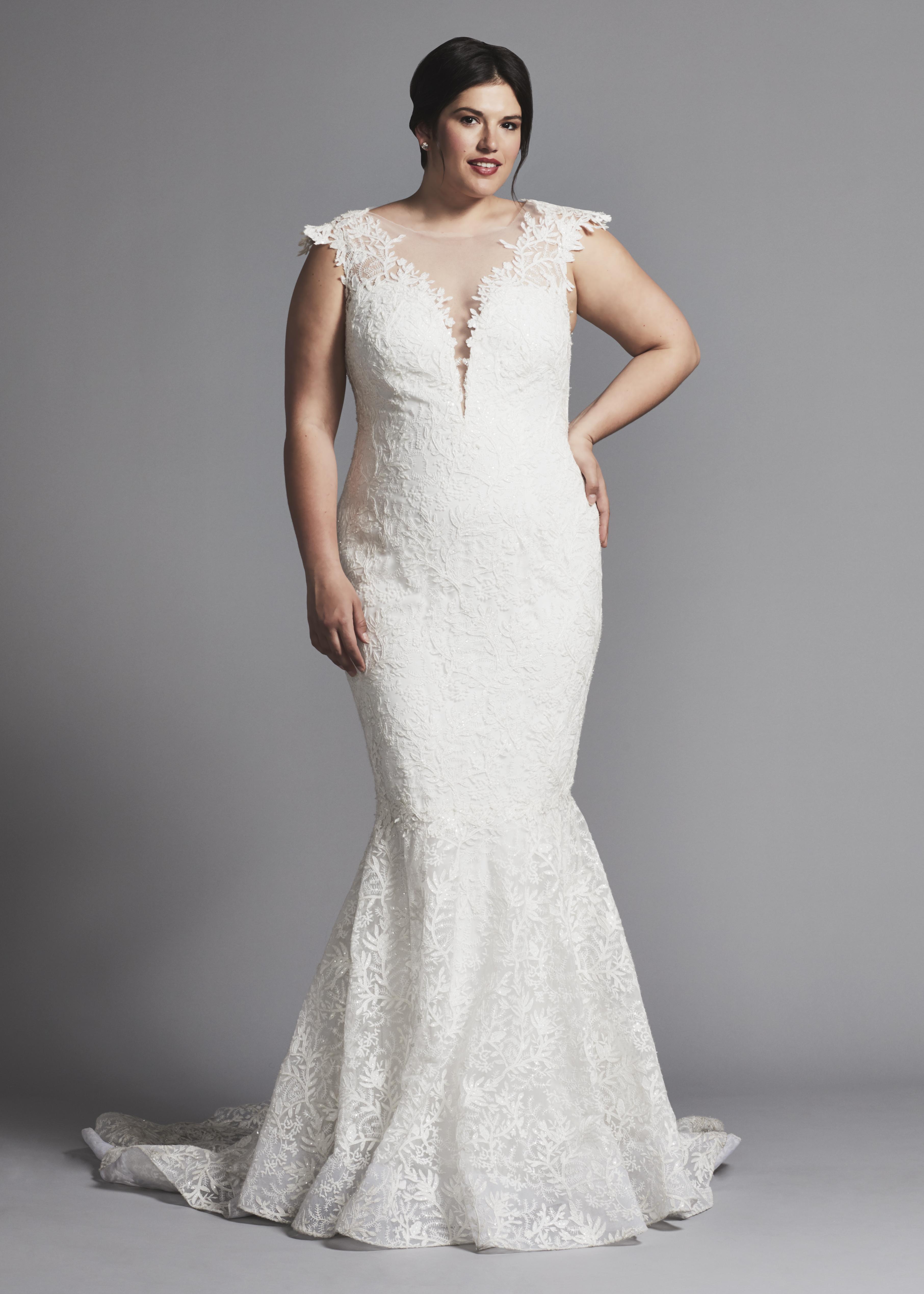 0ef5426a2f1 Cap Sleeve Lace Mermaid Wedding Dress