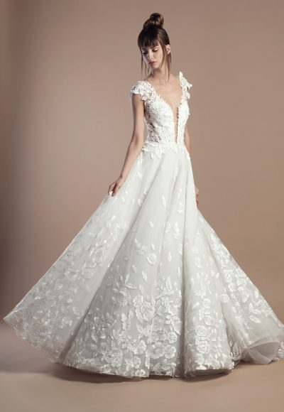 Floral Applique Deep V-neck A-line Wedding Dress by Tony Ward