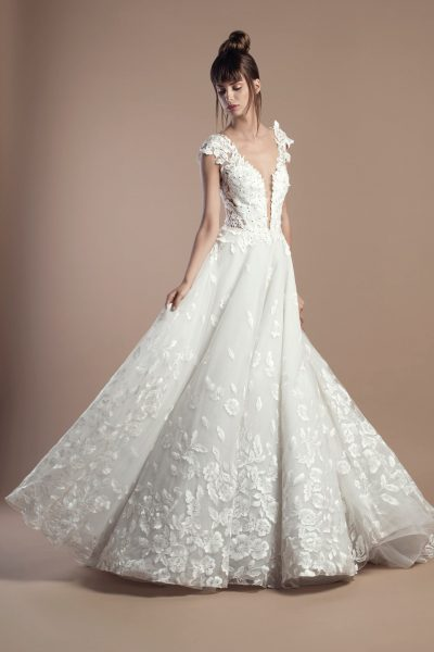 Floral Applique Deep V-neck A-line Wedding Dress by Tony Ward - Image 1