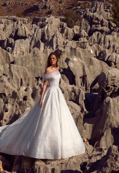 Off The Shoulder Ball Gown Wedding Dress With Beading And Swarovski Crystals. by Tony Ward