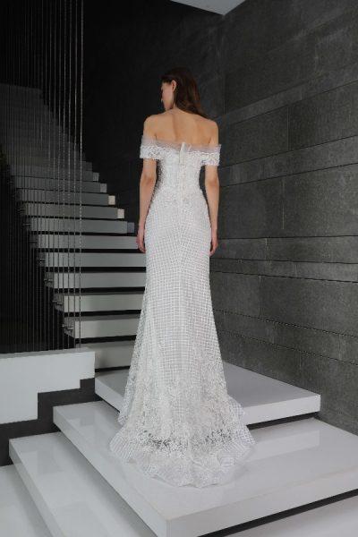 Off The Shoulder Beaded Sheath Wedding Dress by Tony Ward - Image 2