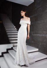Off The Shoulder Beaded Sheath Wedding Dress by Tony Ward - Image 1