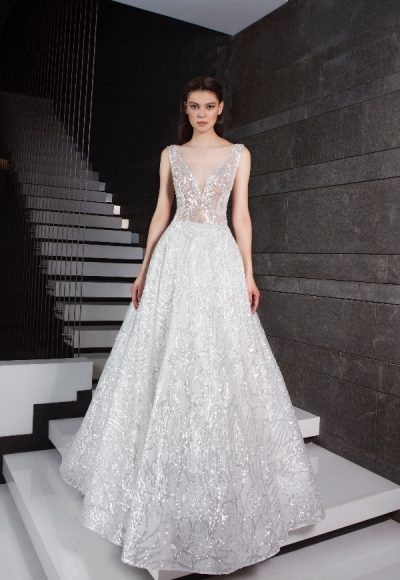 Sequin V-neck A-line Wedding Dress by Tony Ward